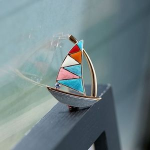 0d06d95ee1 Jewelry - Colorful Enamel Golden Sail Boat Brooch Pin